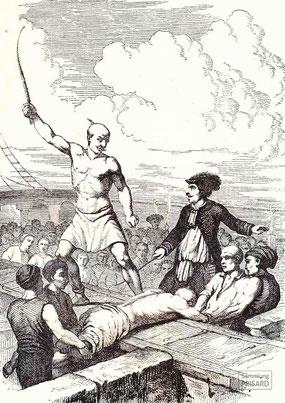 IMA.19.063 Die Bastonade – Beuge- und Strafmittel auf See, von Antoine Léon Morel-Fatio (Kupferstich, 19. Jahrhundert) / © Sammlung PRISARD
