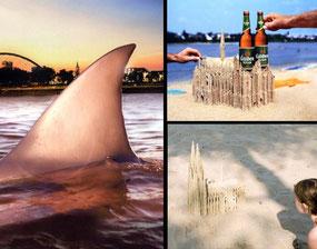 Bau der Haiflosse und des Kölner Doms aus Sand, Fotograf: Benne Ochs
