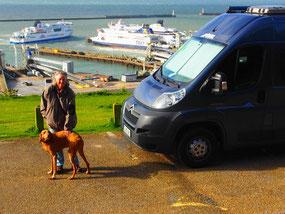 Stellplatz über dem Hafen von Dover