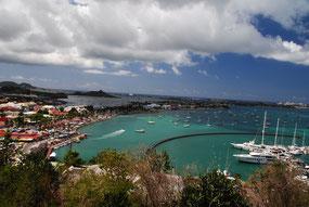 Marigot Bay, im Hintergrund die Lagune