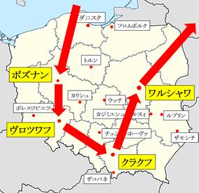 グダニスク-トルン-ワルシャワ-クラクフ地図
