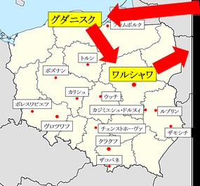 グダニスク-ワルシャワ地図