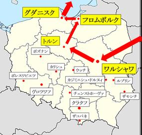 ワルシャワーグダニスク地図