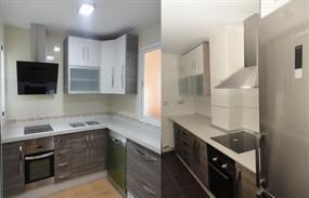 Dos cocinas modelo loira gris y blanco