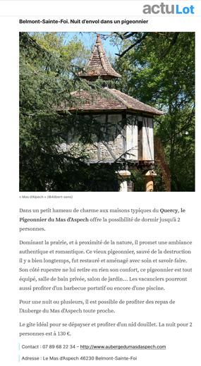 article actulot recommandations pour nuit insolite pour couple à deux dans le Lot Quercy