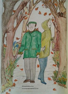 Zeichnung eines Mannes und einer Frau, in herbstlicher Kleidung, die bei Herbstwetter durch einen Parkweg spazieren.