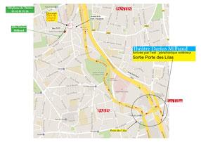 Plan routier par la porte des Lilas, arrivée par l'est de Paris. Cliquez sur l'image pour l'agrandir.