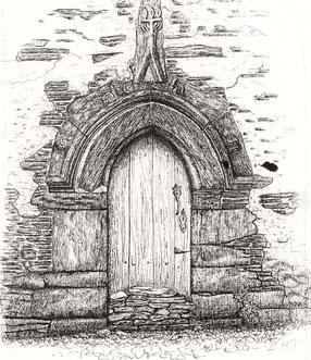 ASPHAN, église du Vieux Bourg de Nozay (44170) Porte des morts de style gothique flamboyant XVe siècle