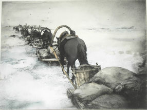 """""""Straße des Lebens (Ladogasee - Leningrad 1941-44)"""", Kohle, Stifte, Aquarell auf Papier, 61 x 46 cm, 2019"""
