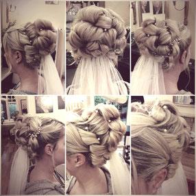 Detailfotos einer Hochsteckfrisur einer Braut