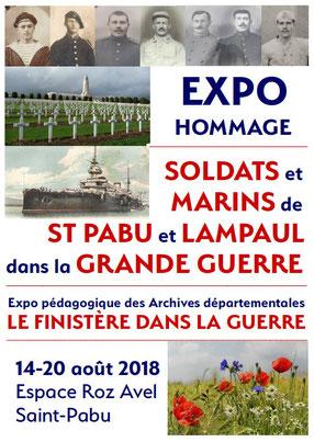 Affiche de l'exposition hommage aux Soldats et Marins de Saint-Pabu dans la Grande Guerre - Août 2018