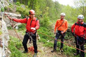 Kurs - Sicherungstechnik am Klettersteig  des DAV Plauen-Vogtland,  an der Klettersteiganlage Wolkenstein,  27.04.2019
