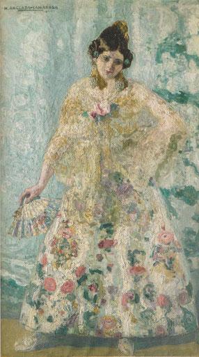 Anglada Camarasa.Mujer del abanico blanco 1908..Atraído por la temática floclórica de moda en Europa,gitanas expresivas, desafiantes,cuerpos ondulantes,vivos colores.