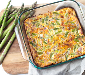 Cheesy Ham and Asparagus Frittata
