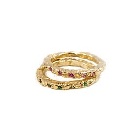 Ringe aus der Serie GLAM ROCKER, 925 Silber vergoldet, Tsavorite und pinke Saphire, € 330.-