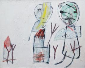 """Amsel Glück,   """"o.T."""" , 1990, Öl/Leinwand, 80 x 100 cm"""