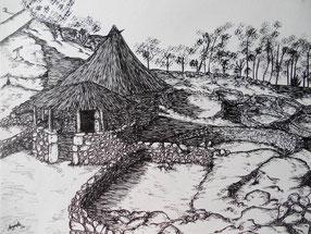 Ink drawing, celtic, houses. Citanea, Monte Santa Trega, A Guarda, Pontevedra, Galicia