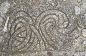 Escultura en piedra, celta, castrexo, nudo con espiral. Monte Santa Trega, A Guarda, Pontevedra, Galicia