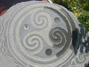 Stone sculpture, celtic, spiral. Monte Santa Trega, A Guarda, Pontevedra, Galicia