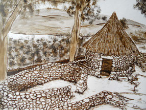 Dibujo, celta, castrexo, paisaje. Citania, Monte Santa Trega, Rio Miño, A Guarda, Pontevedra, Galicia