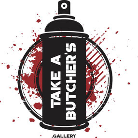 "Logo ""Take a Butcher's Gallery"", ""Street Art Galerie Düsseldorf"", ""Street Art Galerie Flingern"","