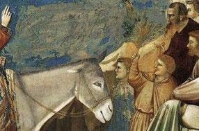 Giotto di Bondone: Einzug in Jerusalem, 1304-06, Fresko in der Cappella Scrovegni in Padua (Detail)