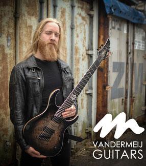 custom guitar poplar burl black multiscale sevenstring vandermeij magistra