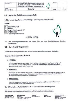 Satzung Projekt BAUM Schülergenossenschaft