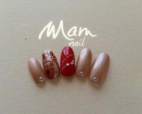 富士市ネイルサロンMam Nail、サンプル、red/CG41カルジェル