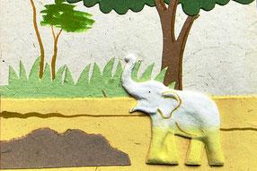 Doppelkarte aus Elefantendung, Sri Lanka