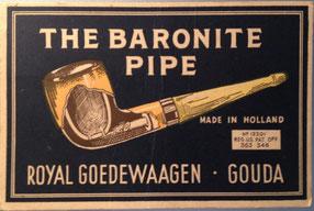 Reclame Karton voor dubbelwandige Baronite pijp, ca 1920-1940