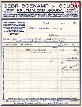 Nota van de Goudse krijtmalerij Boekamp uit 1927 voor de levering van pijpaarde. Let op de leveringsconditie ; 'Ijssel' en 'Franco wal'