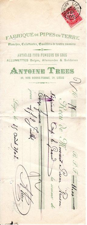 Kwitantie uit 1903 van de firma Antoine Trees uit Luik