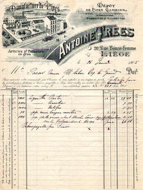 Factuur van de Belgische Pijpenfabrikant Antoine Trees uit Luik, 1905