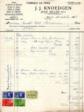Factuur J.J.Knoedgen (Hillen) 11 october 1928