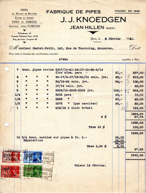 Factuur J.J.Knoedgen (Hillen) 6 Februari 1940