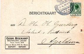 Retour bericht uit 1926 van firma Boekamp voor het terug ontvangen van 100 lege zakken (statiegeld)