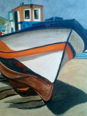 peinture de bateau sur toile