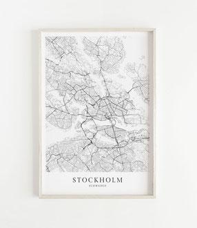 Stockholm Poster als Karte im skandinavischen Stil