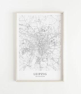 Karte als Poster von Leipzig
