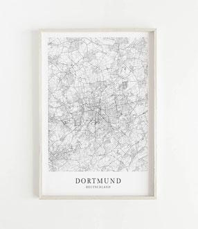 Karte als Poster von Dortmund