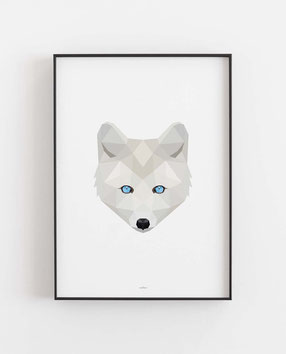 Poly Art Polarfuchs weiß