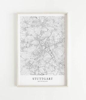 Karte als Poster von Stuttgart