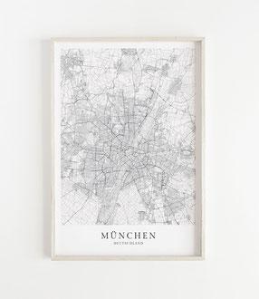 Karte als Poster von München