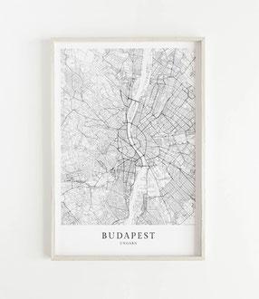 Budapest Karte als Poster