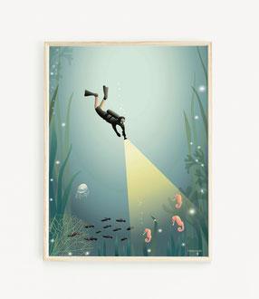 The Diver Poster Taucher im skandinavischen Stil