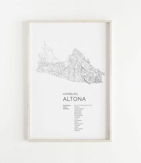 Karte von Hamburg Altona als Poster Map