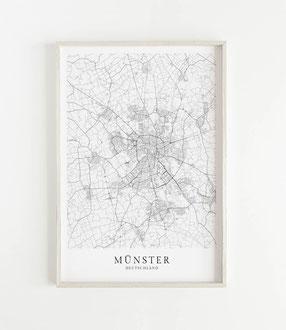 Karte Münster als Poster Map