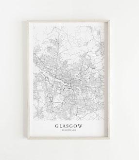 Karte als Poster von Glasgow