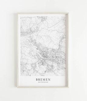 Karte als Poster von Bremen